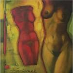 Akt - czerwony... 80x80 / Nude - red...